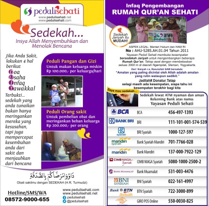 infaq pengembangan Rumah Qur'an pedulisehati 085729000655